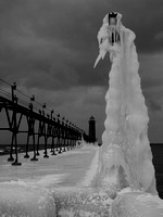 Grand Haven Light in Ice b&w